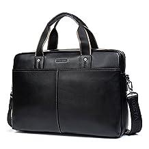 BOSTANTEN Leather Briefcase Lawyers Messenger Shoulder Laptop Business Bags Black