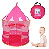 MULGORE Play Tent Set Play Tunnels Print Princess Castle Kids Play Tent Portable Playhouse for Indoor and Outdoor Use(pink)