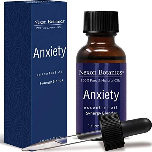 Anxiety Essential Oil Synergy Blend - Pure and Natural Undiluted Therapeutic Grade Blends for Aromatherapy - Helps in Depression, Tension, Stress Relief, Relaxation, Mood, Calming Nexon Botanics 30ml