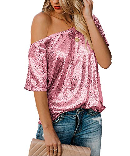 - Womens Off One Shoulder Sequined Tops Plus Size Sparkle Glitter Short Sleeve T Shirts Pink