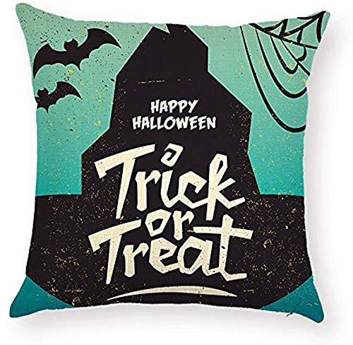 Fhdang Decor Lovely Fashion Funny Sayings Happy Halloween Trick OR Treat Quotes Pillowcase Spiderweb Bat Throw Pillow Cushion Case Cover Protector 18 x 18 inch for KTV Sofa Bedroom