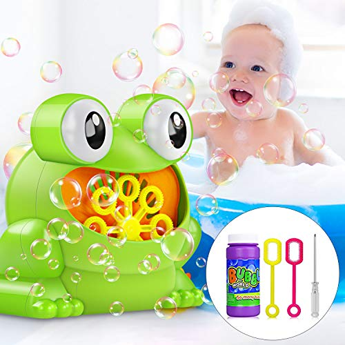 Bubble Machine, Automatic Bubble Maker Blower with A Bottle of Bubble Solution Over 500 Bubbles per Minute Bubble Machines Toy for Kids Toddlers Bath Parties Wedding (Frog) ()