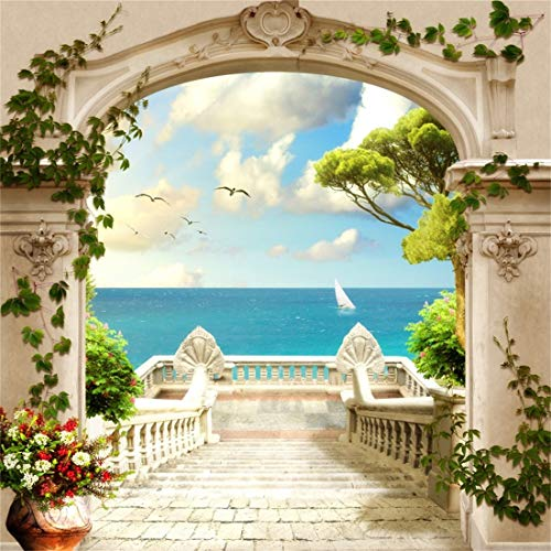 Yeele 4x4ft Vinyl Photography Background Spring Scene Seagull Sea Level Old Fashioned Stone Pillar Door Building Green Plant Flower Sailboat Ocean View Photo Backdrop Studio Props Wallpaper
