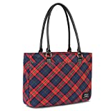 Womens Tote Bag,Slim Red Plaid Pattern Shoulder Bag Large Capacity Lightweight Laptop Purse 15.6 inch Computer College Tote Bags Stylish Work Handbags,Red