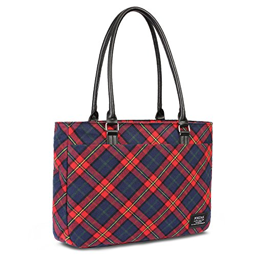 Red Plaid Pattern - Womens Tote Bag,Slim Red Plaid Pattern Shoulder Bag Large Capacity Lightweight Laptop Purse 15.6 inch Computer College Tote Bags Stylish Work Handbags,Red
