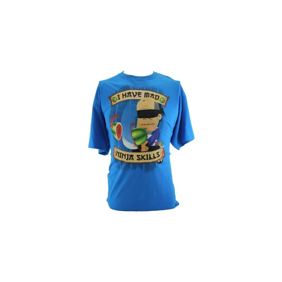 "Fruit Ninja Mens T Shirt   ""I Have Mad Ninja Skills"" Watermelon Chop Image on Blue (X Small) Clothing"