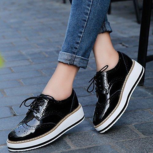 Platform YING Square Up Wingtips Womens Black Toe LAN Oxfords Lace Shoe EqPAwTq