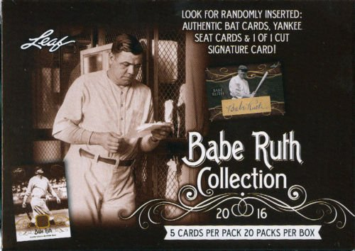 2016 Leaf Babe Ruth Collection Baseball Factory Sealed Blaster Box 20 Packs Per Box 5 Cards Per Pack Look For Randomly Inserted: Authentic Bat Cards Yankee Seat Cards & 1 of 1 Cut Signature Card PLUS BONUS FACTORY SEALED PACK OF 2018 TOPPS BASEBALL - LOOK FOR AUTOS & RELIC CARDS