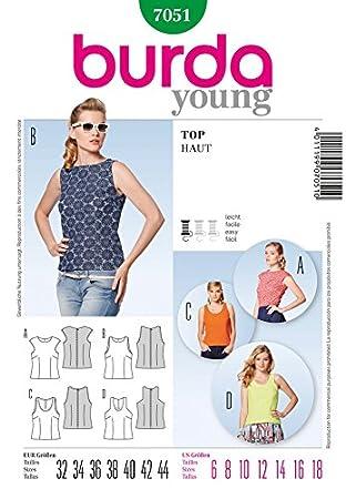 Burda 7051 Damen Nähmuster-Katalog Tops, Größe 6 bis 18: Amazon.de ...