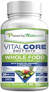 Power By Naturals - Keto Vital Core - Daily WholeFood Low Carb Diet Supplement with Minerals, Electrolytes, Digestive Enzyme and Probiotics - 90 Keto Pills No Carb Vitamins - Whole Food Multi