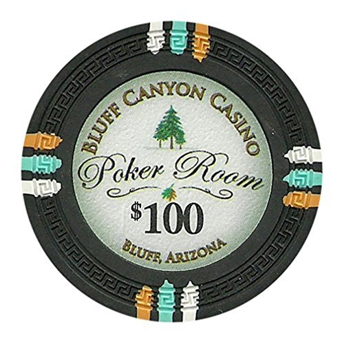 Claysmith Gaming $100 Clay Composite 13.5 Gram Bluff Canyon Poker Chips - Sleeve of 25 (Poker Chips Paulson Pharaohs Casino)