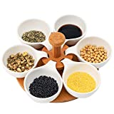 Porcelain Serving Trays, Ceramic Condiment Server Set, Divided Appetizer Snack Dishes Fruit Containers Plates with Round Wooden Organizer Rack for Dessert Food Candy Seasoning Sugar, Set of 6