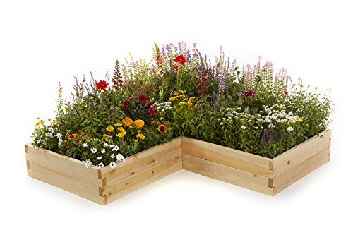 Naturalyards Raised Garden Bed, L-Shaped (Rustic Cedar, 2'x4'x4'x11'') by Naturalyards