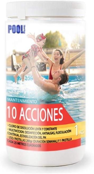 iFONT Cloro 10 acciones | Mantenimiento de Piscina | Tratamiento Multiacción | Formato 1 kg | POOLiberica: Amazon.es: Jardín