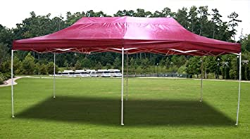New Burgundy Deluxe EZ up Canopy Pop Up Tent 20u0027 X 10u0027 Gazebo Sun & Amazon.com: New Burgundy Deluxe EZ up Canopy Pop Up Tent 20u0027 X 10 ...
