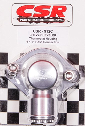 CSR Performance Products 912C Clear Anodized Swivel Style Thermostat Housing for GM and Mopar Engine using 1-1/2'' Hose