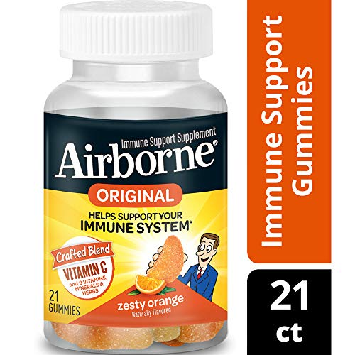 Vitamin C 750mg - Airborne Zesty Orange Flavored Gummies (21 count in a bottle), Gluten-Free Immune Support Supplement with Echinacea and Ginger, Packaging May Vary