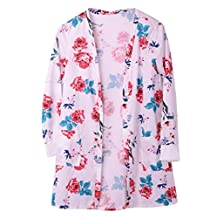 Women's Long Sleeve Floral Kimono Cardigan Beach Cover Up with Pockets