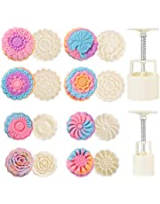 PowerKing Bath Bombs Moon Cake Molds Kit, with 8 PCS 3D Thick Floral Shaped Stamps for 2 Sets, Mid-Autumn Festival Decoration Pastry Cookie Soap Hand-Pressure Mooncake Maker Cutter Tools Set (50g+100g)