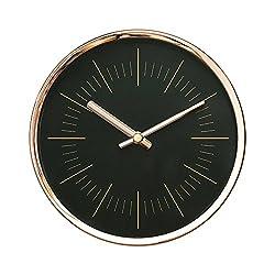 Modern Design Scandinavian 6 Silent Non-Ticking Sweep Movement Desktop Clock, Table Clock, Wall Clock with Rose Gold Frame (Sleek Black)