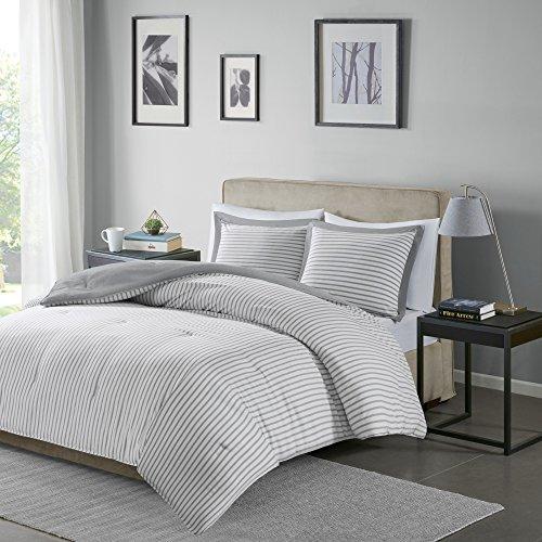 Madison Park Essentials Hayden Reversible Stripes - 3 Piece Teen Set - Ultra Soft Microfiber Bed Comforters, King/Cal King, Grey
