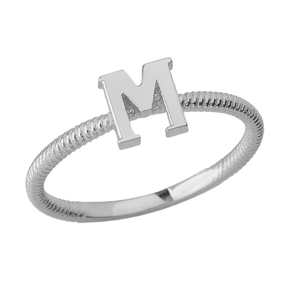 Women's 925 Sterling Silver ''M'' Initial Stackable Rope Design Ring (Size 4.5)