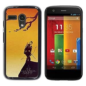 LECELL--Funda protectora / Cubierta / Piel For Motorola Moto G 1 1ST Gen -- CATNISS Y ARCO DE HAMBRE --