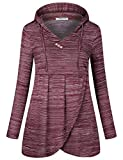 SeSe Code Pullover Hoodies for Women Hoody Sweatshirts Adults New Chic Fit Loosely Vneck Shirts Thin Layering Stretchy Active Burgundy Tops Wine Red Large