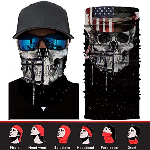 (Skull Face Mask,Goldenguy 3D Tube Mask Seamless Durable Face Mask Bandana Skeleton Face Mask for Motorcycle Bike Riding Fishing Hunting)