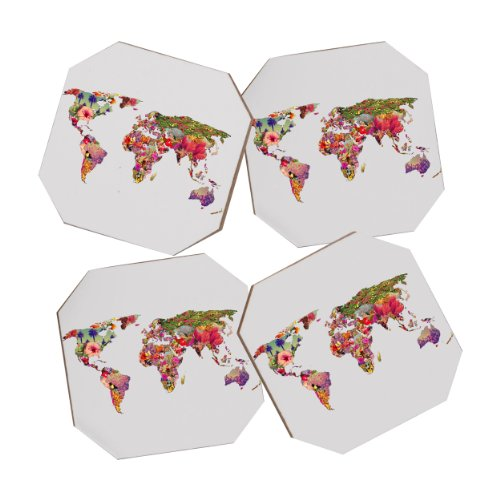 DENY Designs Bianca Green Its Your World Coasters, Set of 4