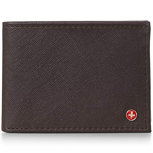 Alpine Swiss Men's Genuine Leather Wallet Slim