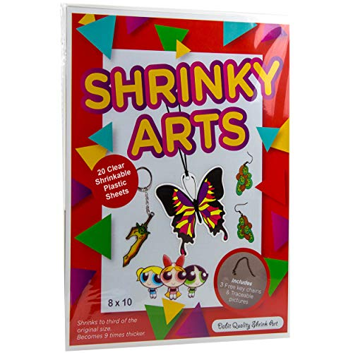 Dabit Shrinky Art Paper Kit 20-Pack, Crystal Clear Plastic Blank Sheets, Shrink Film Bulk Size That's A Dinks for Kids, + Bonus Key Chains and Traceable Pictures