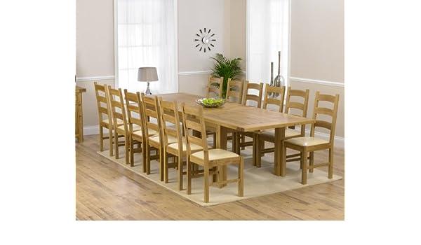 Corona Muebles de Comedor de Roble Extra Grande Mesa de Comedor Extensible y sillas 12 Valencia: Amazon.es: Hogar