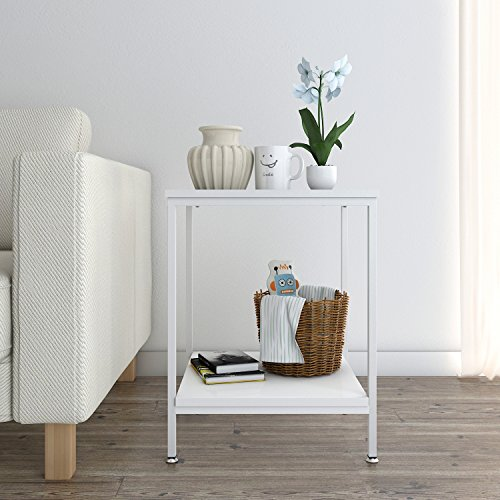 Table End Table, Nightstand, Coffee Table for Bedroom Living Room, Modern Collection, Square, White (Bedroom Coffee Table)