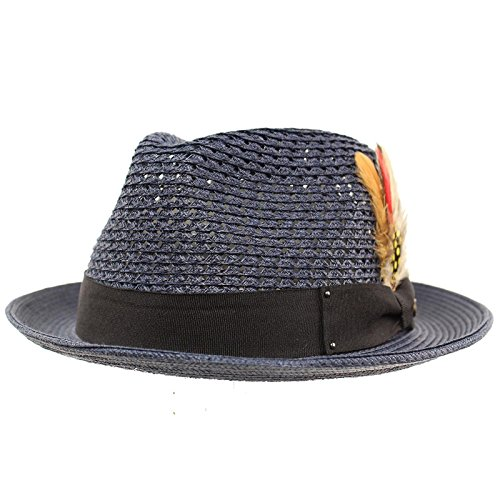 Men's Light Vented Removable Feather Derby Fedora Curled Brim Hat L/XL (Fedora Hat With Feather)