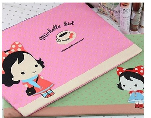 The New Michelle Girl paper bags oxford bags with zipper A4 data bag filing envelopes 6pcs random - Girl New Michelle