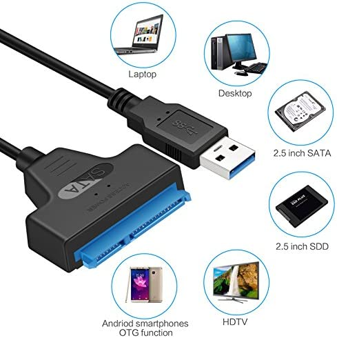 Festnight USB 3.0 to External 2.5 3.5 SATA III HDD SSD Hard Drive Converter Adapter Cable for Mac Win 8 OS