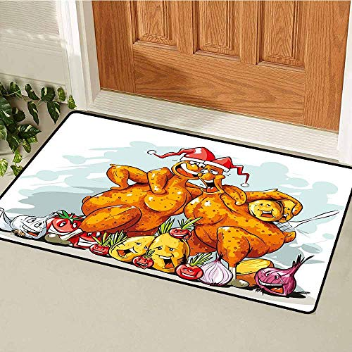 (Gloria Johnson Funny Inlet Outdoor Door mat Christmas Roasted Turkey Buddies Celebration Characters Xmas Holiday Theme Catch dust Snow and mud W29.5 x L39.4 Inch Seafoam Dark Orange )