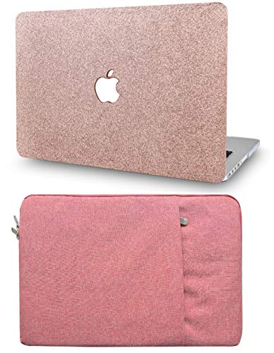 """KECC Laptop Case for Old MacBook Pro 13"""" Retina (-2015) with Sleeve Plastic Hard Shell Case A1502/A1425 2 in 1 Bundle (Rose Gold Sparkling)"""