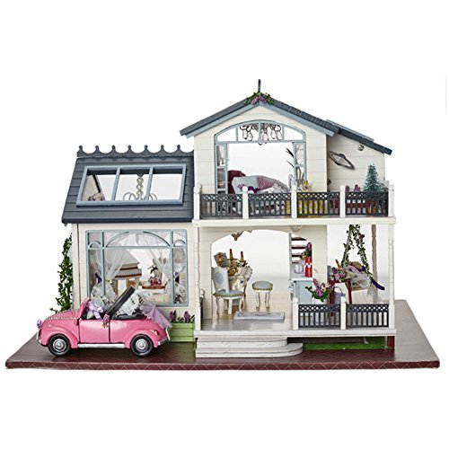 Handmade Furniture Doll - CUTEBEE Mini-Handmade Doll House Miniature with Furniture, Diy Wooden Dollhouse Toys Fit for Teens Adults Christmas Gifts and Crafts Assemble Their Own in English instruction