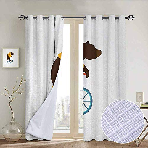NUOMANAN Living Room Curtains Bicycle,Big Teddy Bear Icon of Circus Riding Bicycle with Hipster Costume Animal Image,Brown Yellow,Adjustable Tie Up Shade Rod Pocket Curtain 52