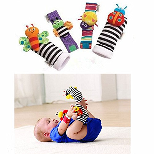leoyoubei Baby Socks Toys Wrist Rattles and Foot Finders Multicolor 4 pack]()