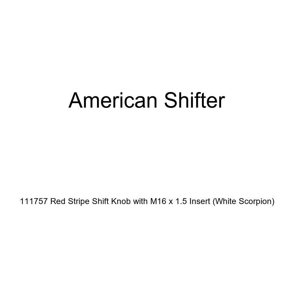 American Shifter 111757 Red Stripe Shift Knob with M16 x 1.5 Insert White Scorpion