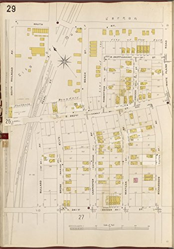 Rare Map Railroad Atlas (Historic 1905- Map | Bronx, V. B, Plate No. 29 [Map bounded by South St., White Plains Rd., Richardson Ave., E. 241st St., South Railroad Ave.] | New York (N.Y.)Atlases of New York City |)