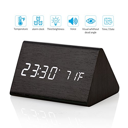 CORTEGE Digital Alarm Clock Wooden LED Light Clock with Time and Temperature Display Triangle for Home Bedroom Office Desk Travel Kids Heavy Sleepers By Set Wood Clock