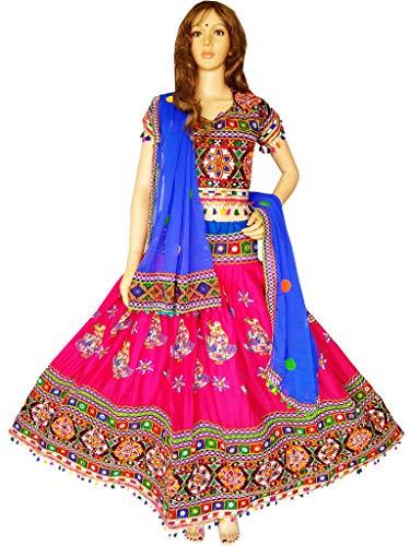(Nanda Women Rayon 2019 New Dandiya Chaniya Choli-Original Mirror Work Lehenga-Banjara Ghagra Choli-Navratri Special Pink Free Size)