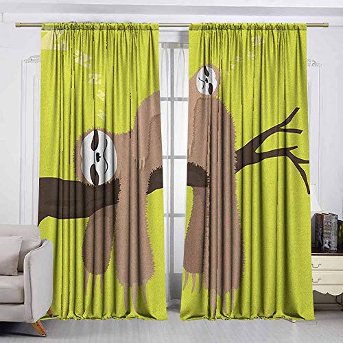 VIVIDX Rod Pocket Curtains,Sloth,Cartoon Mother Sleeping on Branch with Kid Sloth on Her Back Carefree Family,Thermal Insulated Light Blocking Drapes for Bedroom,W72x45L Inches Cocoa Apple Green