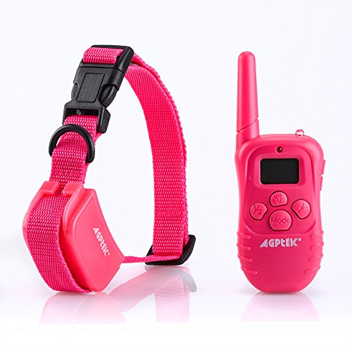 AGPtEK 2015 NEW Pink 300 Yard 4 in 1 LCD Rechargeable Remote Pet Dog Training Collar with 100lvs Shock and Vibration for One Dog 4 In Dog Collar