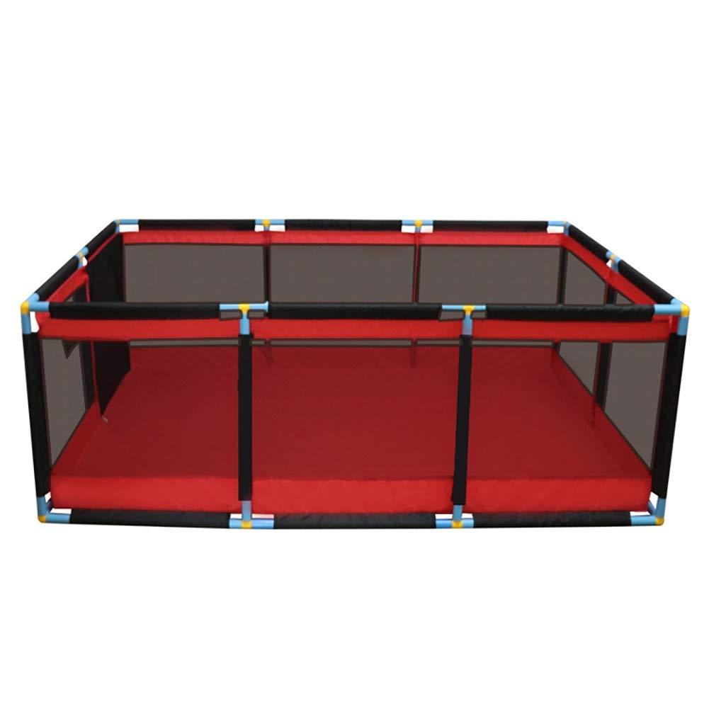 プレイ盤 特大の赤ちゃんのベビーサークル、赤の携帯用幼児の演劇のゲームの塀、ドアが付いている屋外の屋内子供の安全性の活動性の中心、128×190×66cm   B07T2MVX12