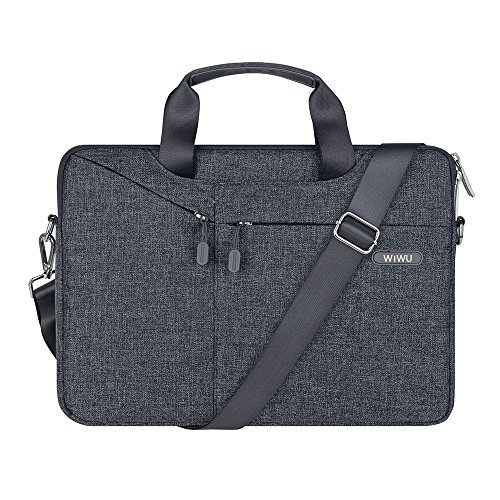 15.4in Messenger - WIWU 15.6Inch Laptop Messenger Shoulder Bags with Multi-pocket for 15.4Inch MacBook / MacBook Pro Retina, Surface Pro 4/ 3 / Dell / Notebook Cover Bag,Waterproof Business Computer Bag (15.6inch, gray)
